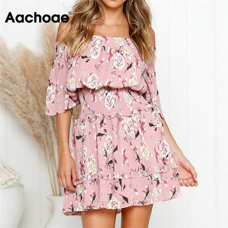 Aachoae Summer Dress 2020 Women Boho Style Floral Print Beach Dress Sexy Off Shoulder Elegant Mini Party Dress Sundress Vestidos