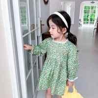 Vestido de primavera-otoño para niñas pequeñas, Verde floral, informal, de manga larga con cuello cuadrado