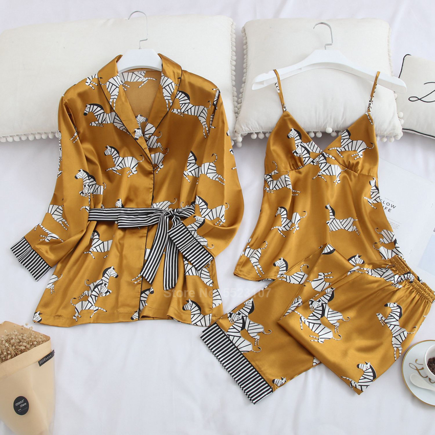 2020 New Pajamas Set For Women Spring Striped Zebra Print Cartoon Casual Sleepwear Silk Robe Gown Lounge Suit With Chest Pad