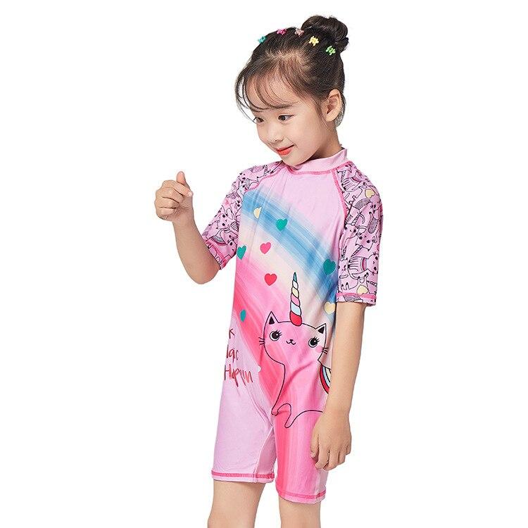 KID'S Swimwear Sun-resistant UPF Girls One-piece Short Sleeve Swimwear Diving Suit Surf Wear Big Boy GIRL'S Swim Cap