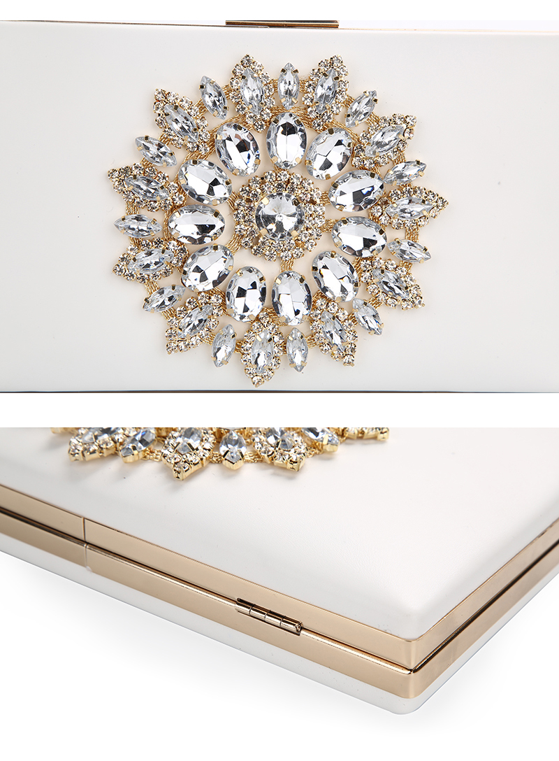 White Women Clutch Bag Wedding Clutch Purse Bridal Evening Crystal Summer Bags for Women 2020 Luxury Small Crossbody Bags ZD1333