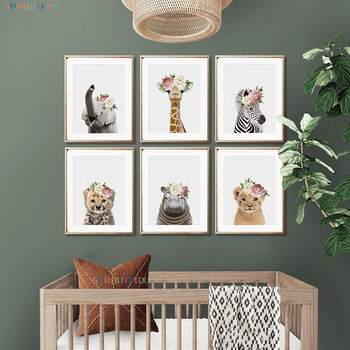 Animal Flowers Big Picture On The Wall Baby Room Picture On Wall Loft Elephant Tiger Modular Pictures For Living Room bedroom image
