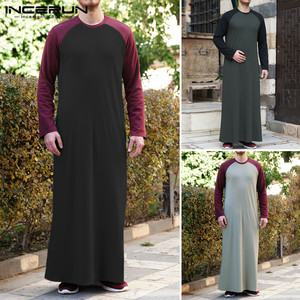Men islamic Arabic Kaftan Muslim Long T Shirt 2020 Long Sleeve Patchwork O Neck Casual Robes Middle East Men Jubba Thobe INCERUN