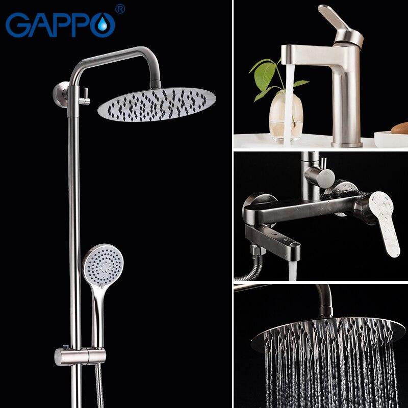GAPPO système de douche en acier inoxydable mural salle de bain douche cascade robinet salle de bains pluie douche ensemble baignoire robinet