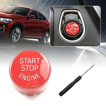 Car Start Stop Engine Switch Button Cover for BMW F/G Switch Buttons Trim for BMW F20 F30 F10 F01 F25 F26 Red Interior Mouldings image