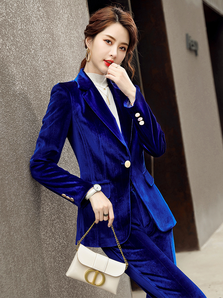 Fall Autumn Winter Long Sleeve Blazer and Pant Suit Ladies Women New Arrival Casual 2 Piece Set Green Black Red Purple Blue