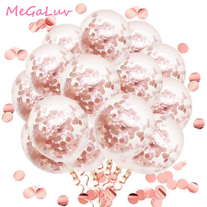 50pcs 12inch Rose Gold Confetti Latex Balloons Party Balloons for Bridal Shower Wedding Engagement Birthday Decoration(China)