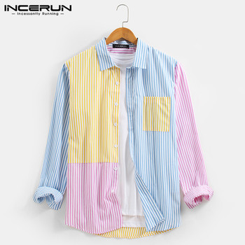 INCERUN Men Casual Shirt 2021 Colorful Patchwork Striped Tops Fashion Lapel Long Sleeve Brand Shirts Streetwear Button Camisas 1