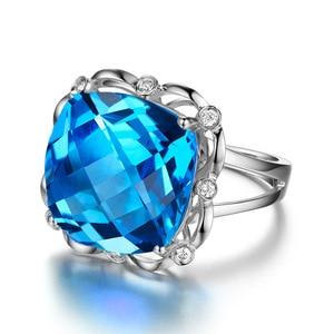 Image 2 - SLFD الطبيعية توباز 18K الذهب الخالص 2019 جديد حار بيع خاتم المرأة شكل قلب خاتم للسيدات امرأة مجوهرات حقيقية