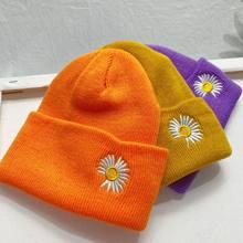 Chapeaux de Ski pour enfants, couvre-chef de Sport doux et élastique, avec broderie marguerite, tricoté, multicolore, à la mode