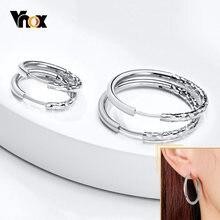 Vnox-pendientes de aro de Metal minimalistas para mujer, aretes Punk de círculo de acero inoxidable con textura de martillo, joyería sencilla para chica