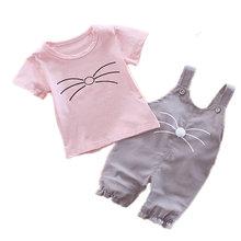 Модные детские футболки и брюки с поясом для девочек 2 шт/компл