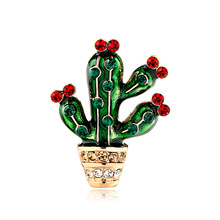 Korean version of fashion creative jewelry personality alloy dripping green plant cactus corsage spot wholesale