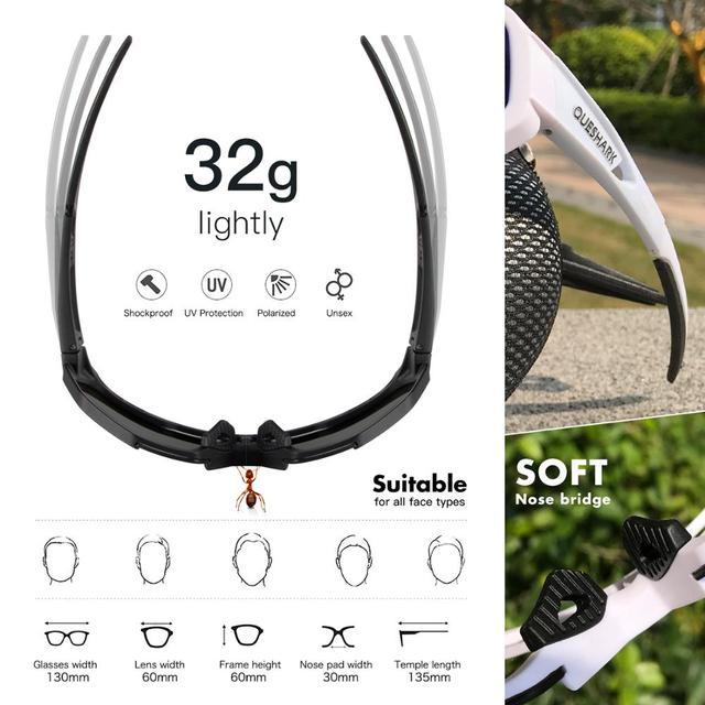 Queshark polarizado óculos de ciclismo das mulheres dos homens uv400 correndo esportes pesca óculos de sol mtb bicicleta com 3 lentes qe42 6