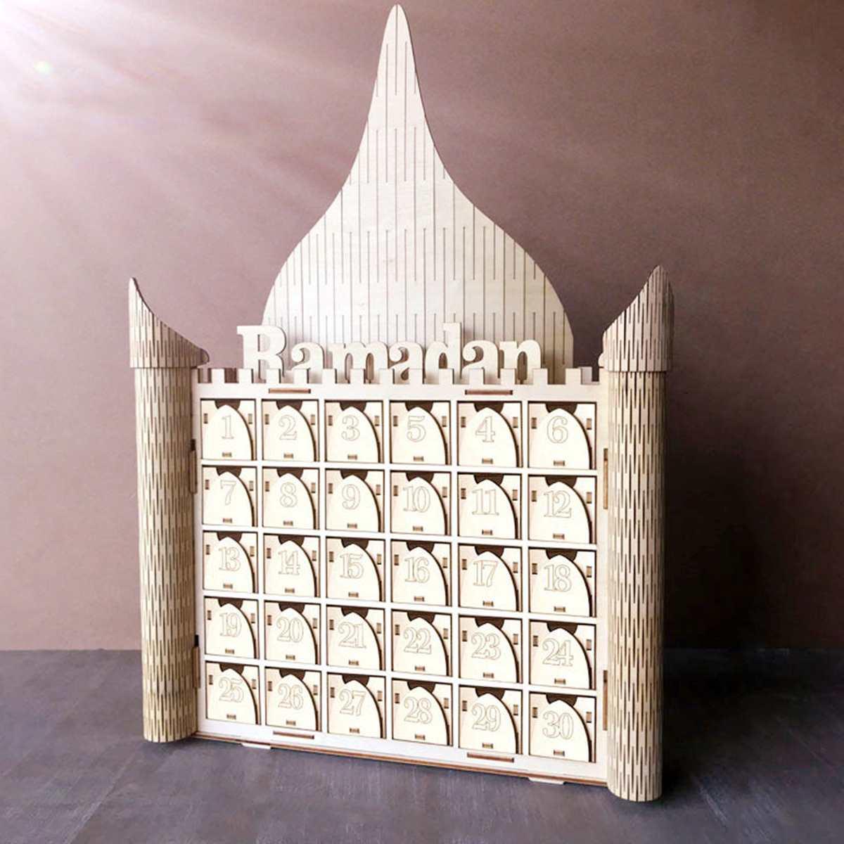 Wooden MDF DIY Drawer Ramadan Calendar EID Mubarak Advent Decor Islamic Decoration Ramadan Muslim Festival Party Supplies