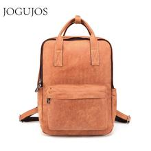 JOGUJOS Genuine Leather Men's Backpack Vintage Daypack Leather School Bag Travel Bag Men High Capacity Casual Rucksack Bag Man стоимость