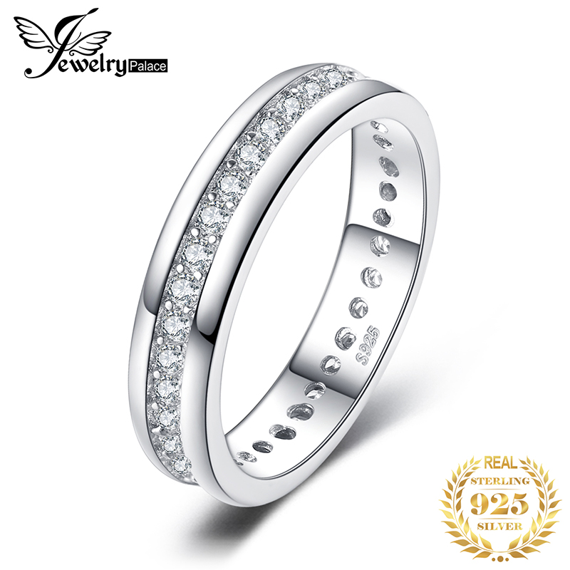 JewelryPalace CZ Wedding Rings 925 Sterling Silver Rings for Women Stackable Anniversary Ring Eternity Band Silver Innrech Market.com