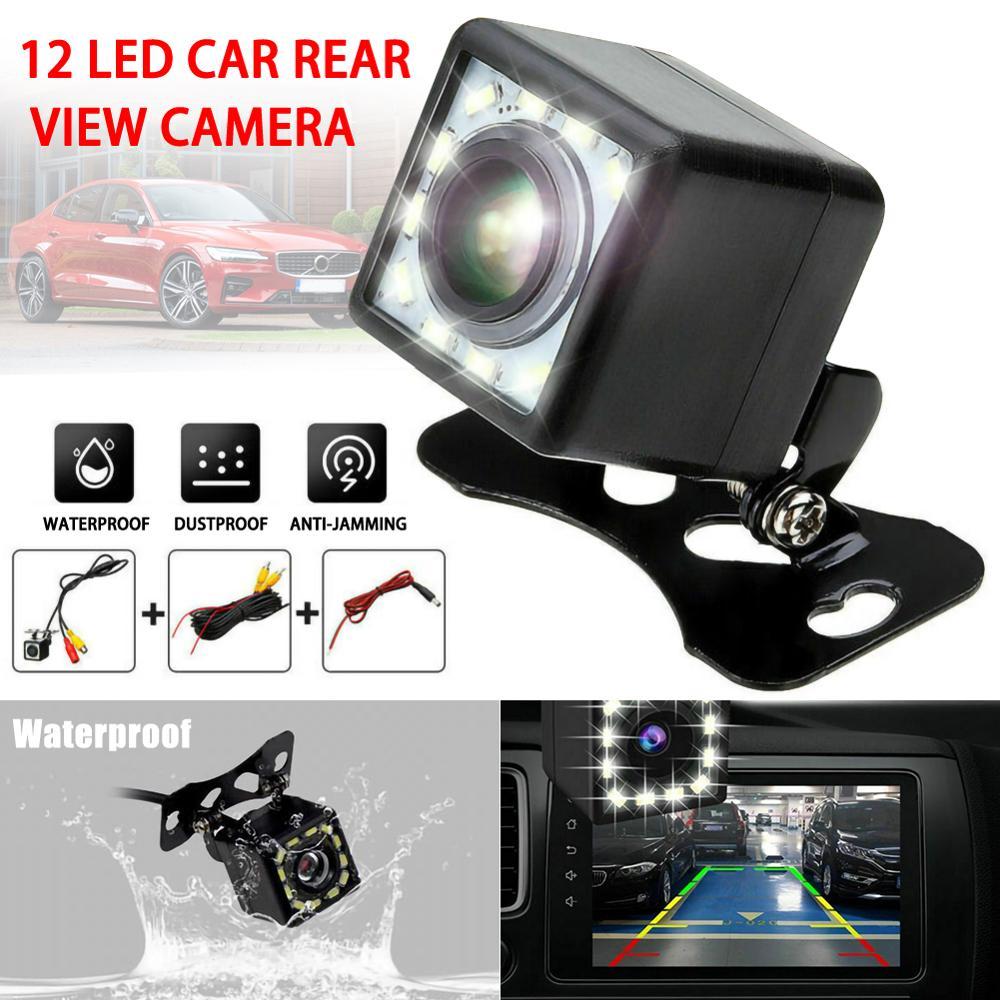 HD Car Rear View Reverse Backup Cameras Parking Night Vision Waterproof 12 LED Vehicle Reversing Radar Sensor Detector Camera