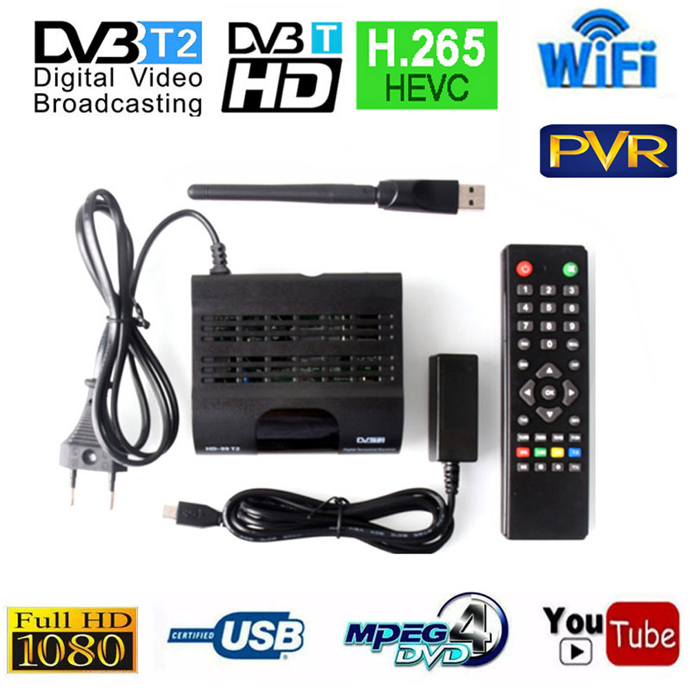 DVB T2 ТВ тюнер DVB-T2 ресивер Full-HD 1080P цифровой Смарт ТВ коробка Поддержка WI-FI MPEG4 H.265 HEVC