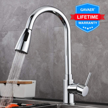 Gavaer Silver Single Handle Pull Out Spout Kitchen Taps Single Hole Handle Swivel 360 Degree Water Mixer Tap Dual Mode Effluent