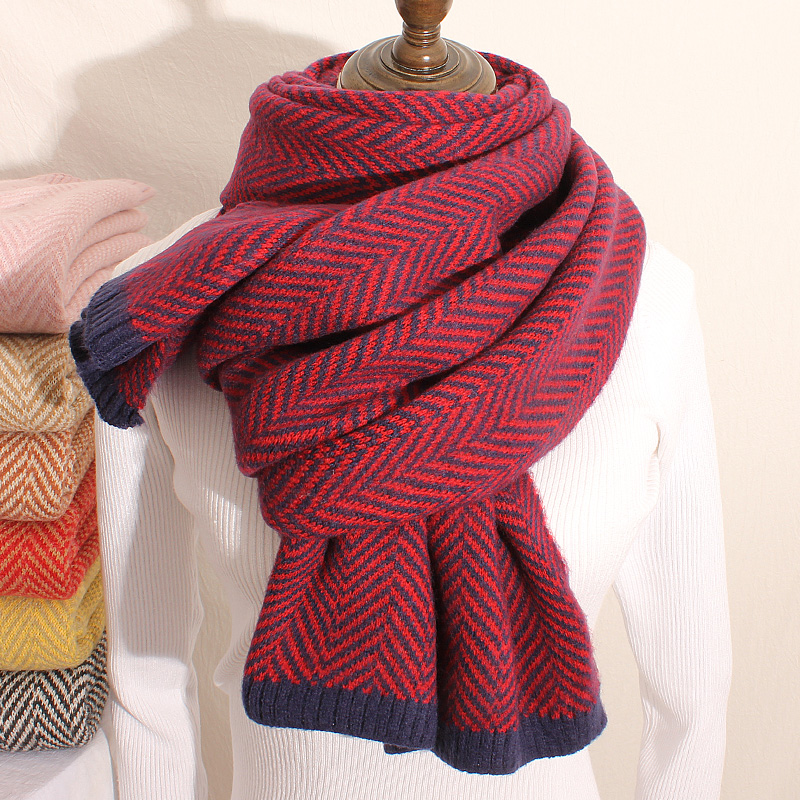 Brand Scarf Autumn Winter Female Student Korean Version Versatile Warm Ins Couple Soft Girl Long Thick Wool Bib Man Women Scarf