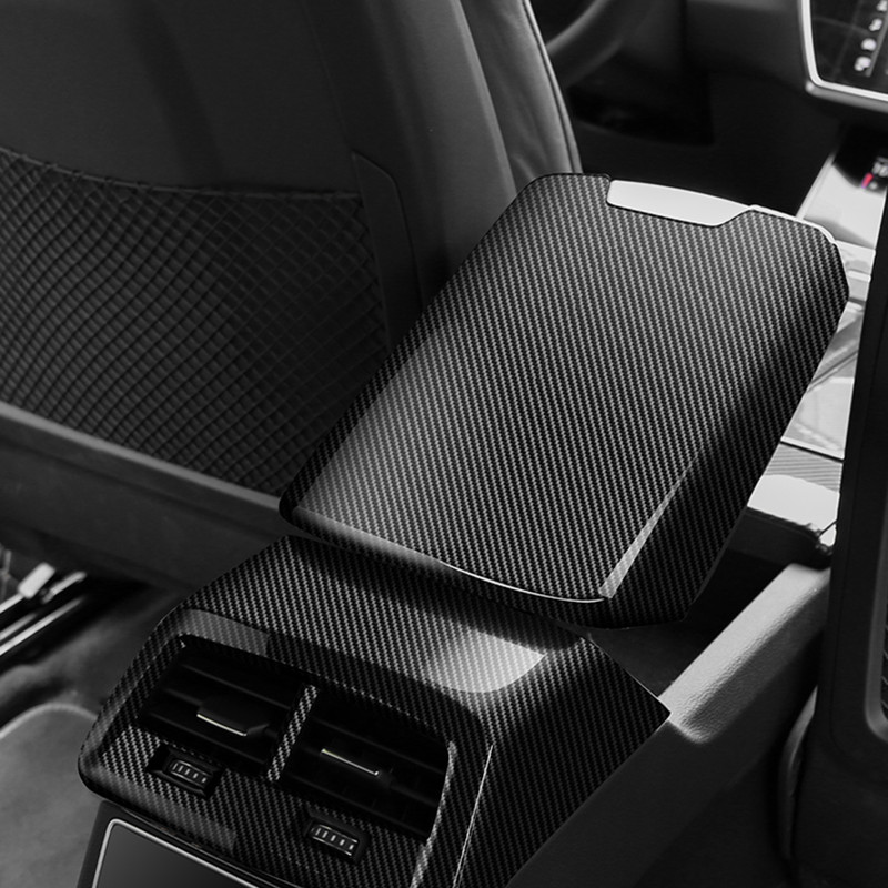 Car Styling Center Console Armrest Box Panel Decoration Cover Trim ABS For <font><b>Audi</b></font> <font><b>A6</b></font> C8 <font><b>2019</b></font> Carbon Fiber Color image