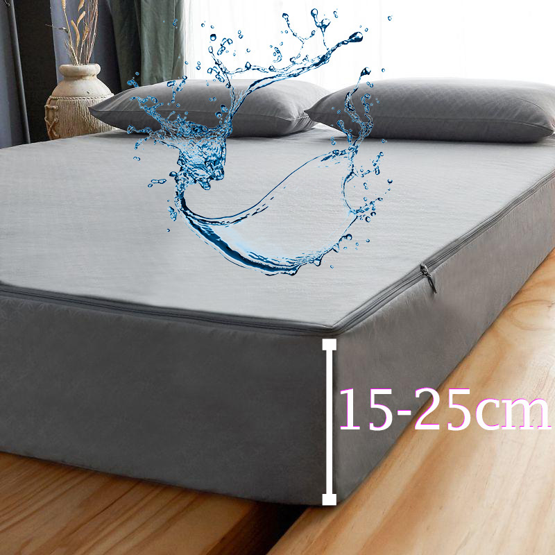 Waterproof Mattress Cover with zipper Six sides all inclusive Mattress Cover King Queen Quilted Bed Fitted Sheet Bedspread