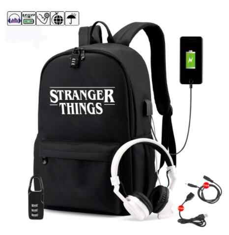 Luminous Bag Multifunction USB Charging Stranger Things Travel Canvas Student Backpack For Teenagers Boys Girls School B Mochila