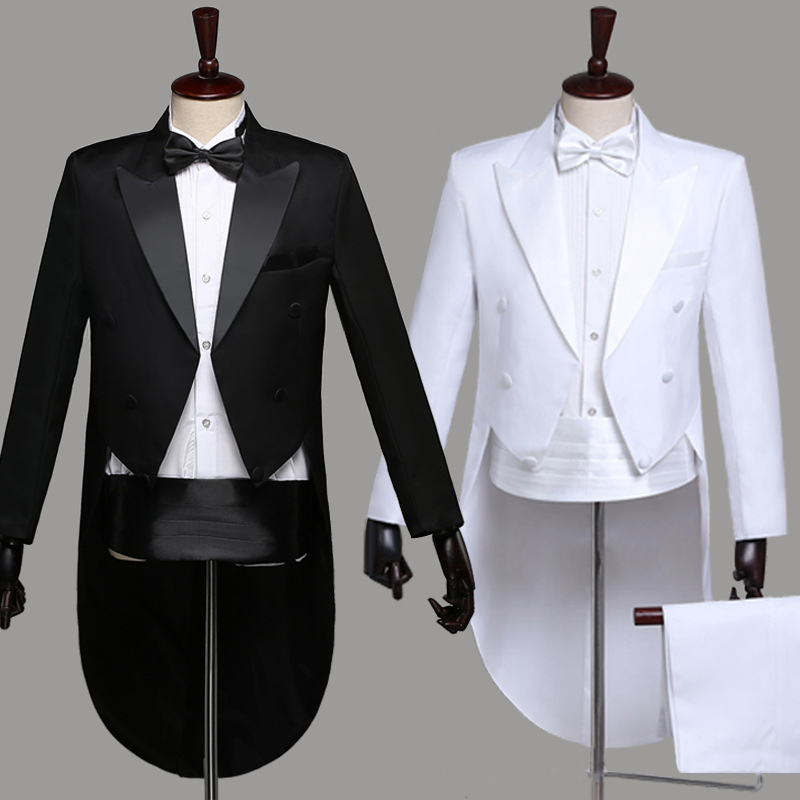 Men's Suit Tuxedo Solid Wing Pointed Collar Men's Long Sleeve Gentleman's Dress Formal Wedding Bridegroom Party Suit Large