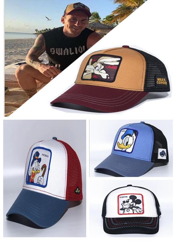 New Brand Anime MICKEY Donald Duck COYOTE Snapback Cap Cotton Baseball Cap Men Women Hip Hop Dad Mesh Hat Trucker Cap Racing H