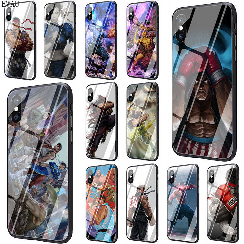 Funda de teléfono de vidrio templado EWAU Game street fighters para iphone SE 2020 5 5s SE 6 6s 7 8 plus X XR XS 11 pro Max