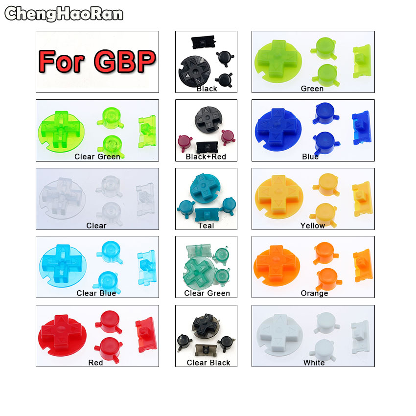 ChengHaoRan Colorful Replacement Buttons Set Replacement For Gameboy Pocket GBP On Off Button A B Buttons D Pads image