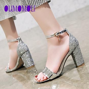 Sandalias de tacón alto a la moda para mujer, zapatos ostentosos con diamantes de imitación, Sandalias de tacón con hebilla para mujer de verano para mujer, zapatos femeninos 2020 Q345