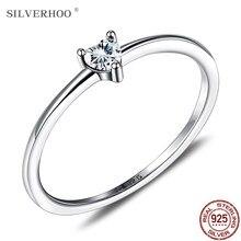 Silverhoo prata esterlina 925 anéis femininos simples anel de zircão coração para mulheres jóias de prata fina noivado presentes da menina de casamento