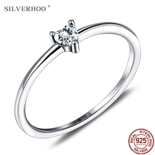 SILVERHOO Sterling Silver 925 Ring Clear Simple Heart CZ Women's Rings Engagement Wedding Statement Fine Jewelry Girl Gifts 2020