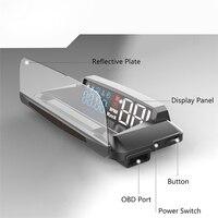 Cabeça up display carro auto hud espelho hud obd2 velocidade do carro projetor velocímetro detector de carro painel cabeça up display velocidade/rpm