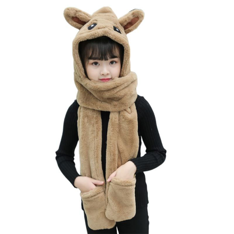 3 In 1 Kids Scarf Hat Gloves Plush Animal Pattern Hoodie Earflap Head Cap Shawl High Quality And Brand New