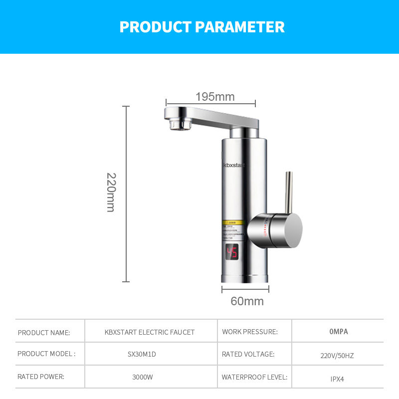Купить с кэшбэком 220V Electric Water Heater Tap Instant Hot Water Faucet Heater Cold Heating Faucet Tankless Water Heater Temperature Display