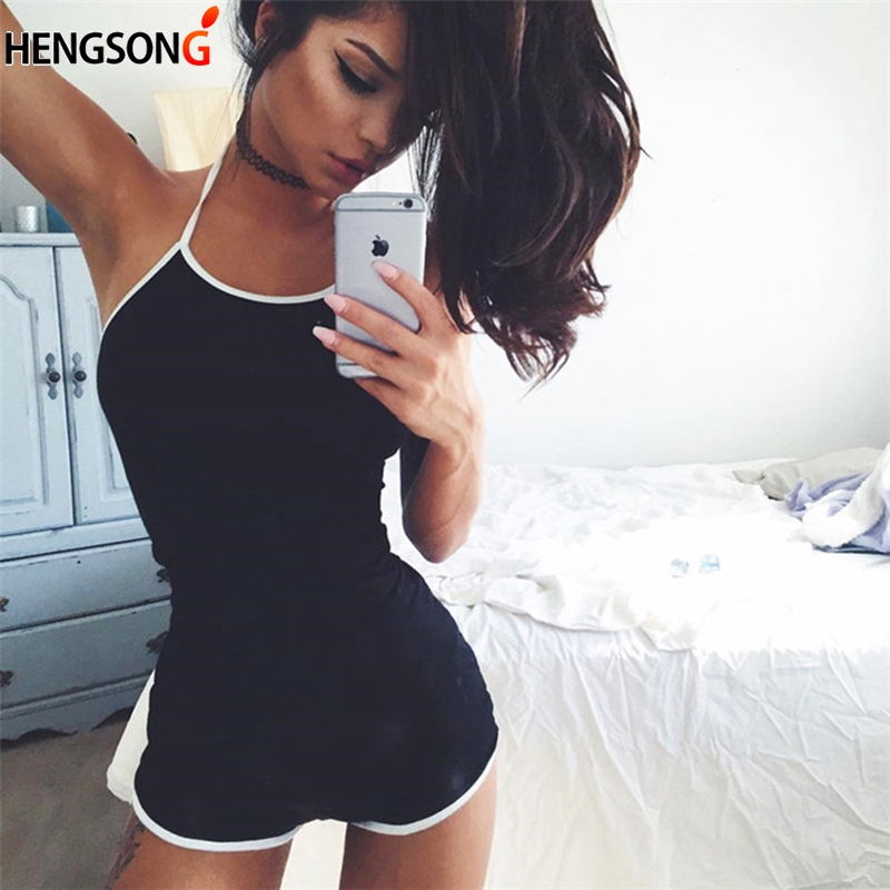 Summer Overall For Women Casual Running Clothes High Waist Short Jumpsuit Halter Collar Fitness Playsuit Casual Sportswear