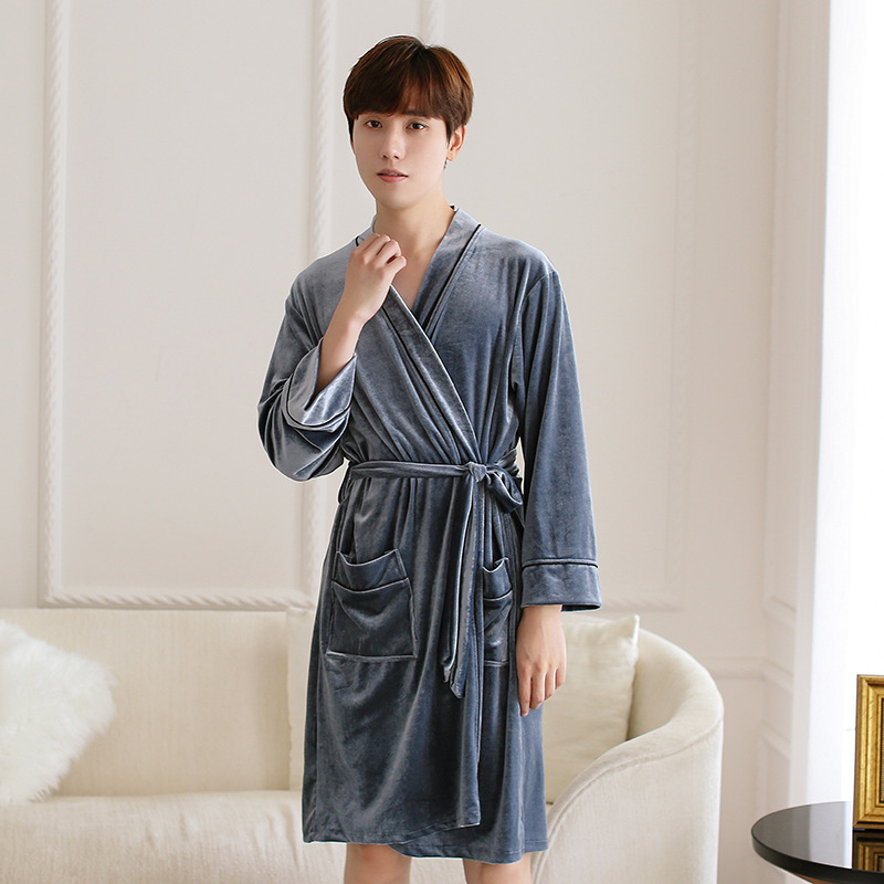 Men Autumn Winter Home Wear Velvet Kimono Robe Gown Sleepwear Elegant Homewear Noightwear Casual Soft Bathrobe Gown Nightgown