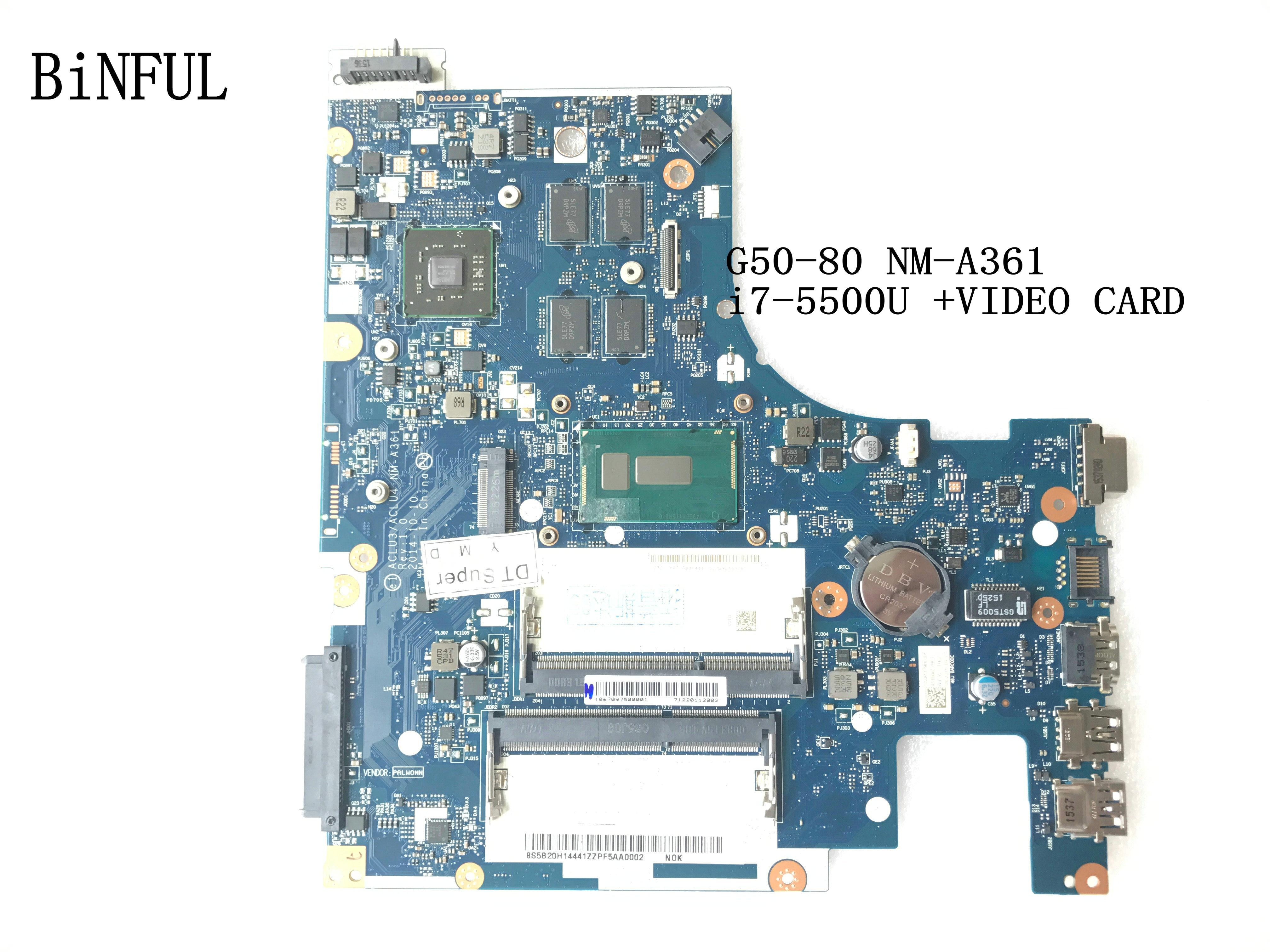 KEFU ESTOQUE ACLU3/ALCU4 NM-A361 Para LENOVO Ideapad G50-80 MOTHERBOARD LAPTOP COM PROCESSADOR I7-5500U + PLACA DE VÍDEO
