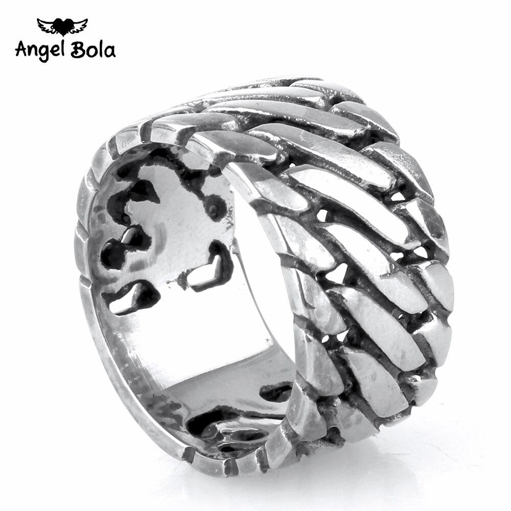 Кольцо в стиле панк-байкера из нержавеющей стали и титана
