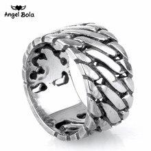 Punk biker jóias anel de buda anel de corrente larga rocha titânio anel de aço inoxidável venda quente dedo arte retro transporte da gota