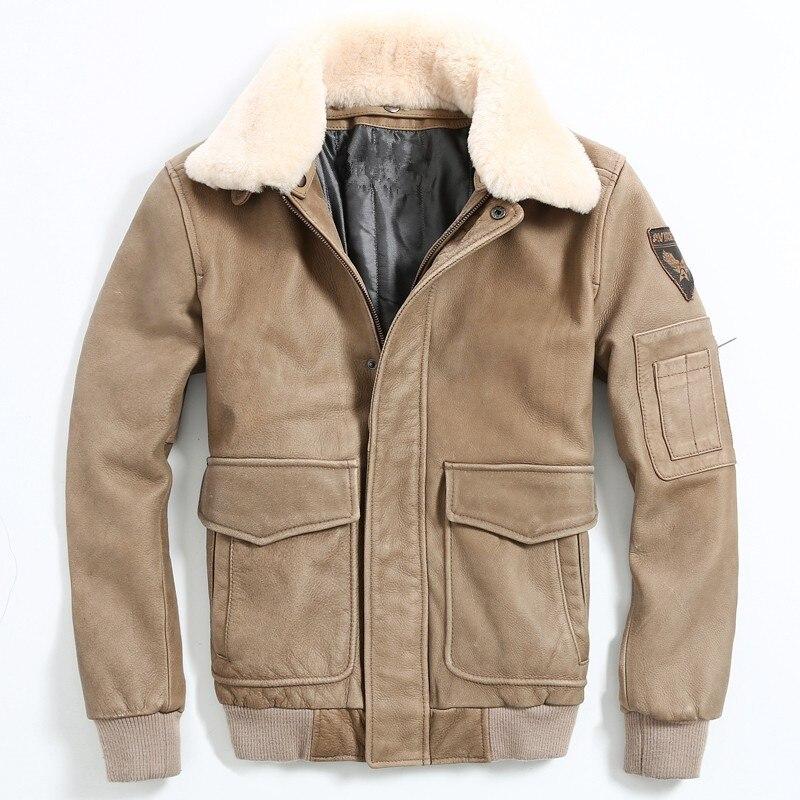2020 hommes marron Air Force vol cuir veste laine col grande taille XXXL véritable peau de vache russe hiver pilote cuir manteau