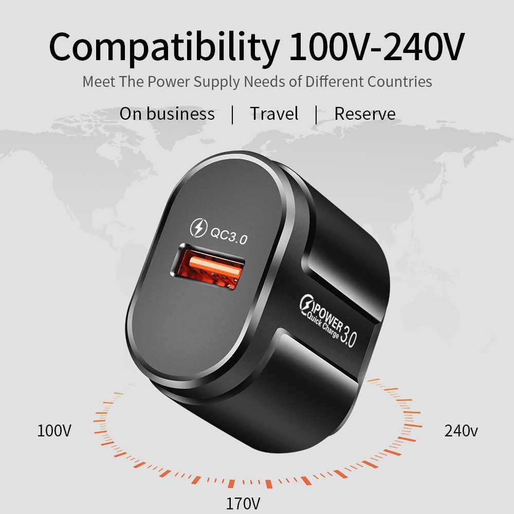 USLION سريع تهمة QC 3.0 USB الولايات المتحدة الاتحاد الأوروبي شاحن العالمي شاحن الهاتف المحمول الجدار محول الشحن السريع آيفون سامسونج شاومي