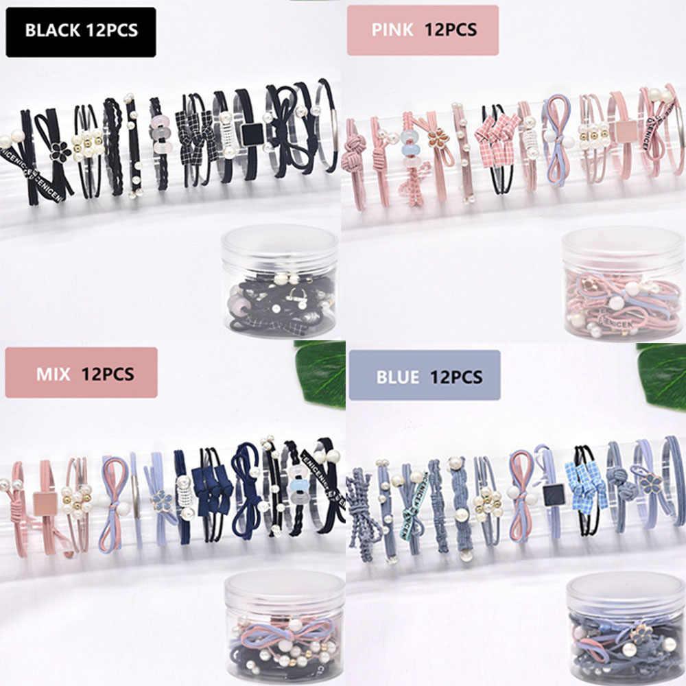 12 ピース/セット髪のロープのゴムバンドの毛リングセット革ヘッドロープ韓国スモール新鮮でシンプルな人格