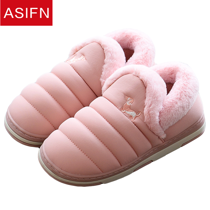 ASIFN Women Winter Slippers Fur Men Cute Dogs Flip Flops for Couple Shoes Woman for Ladies House Male Sapato Feminino Mules image