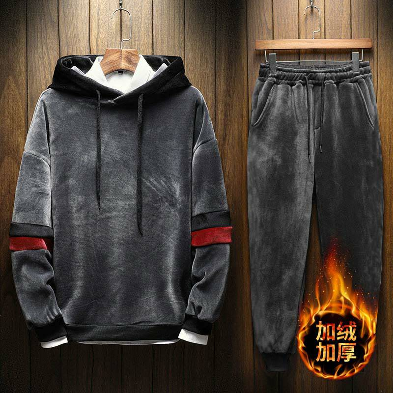 Men's Hood Velour Velvet Sport Sweatshirt Tracksuit Track Suit Outwear 2PC Jacket Coat Pants Trousers Sets Outfits
