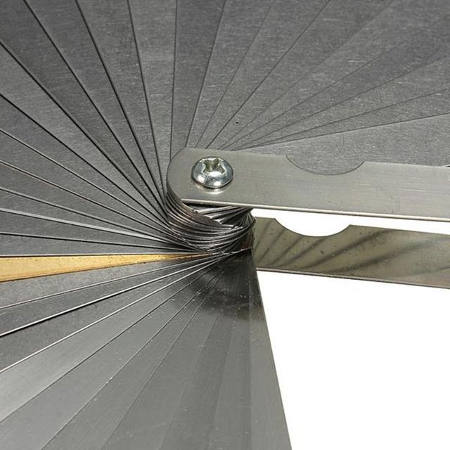 ABZB-Guitar 32 Blade Feeler Gauge Set Laser 2481 Bass Metric Imperial Measure Tune Up Thickness +BRASS BLADE Tool