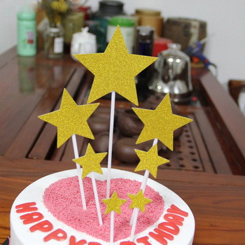 Baking Supplies Heart Glitter Star Cake Flag Birthday Party Decorative Stuff image